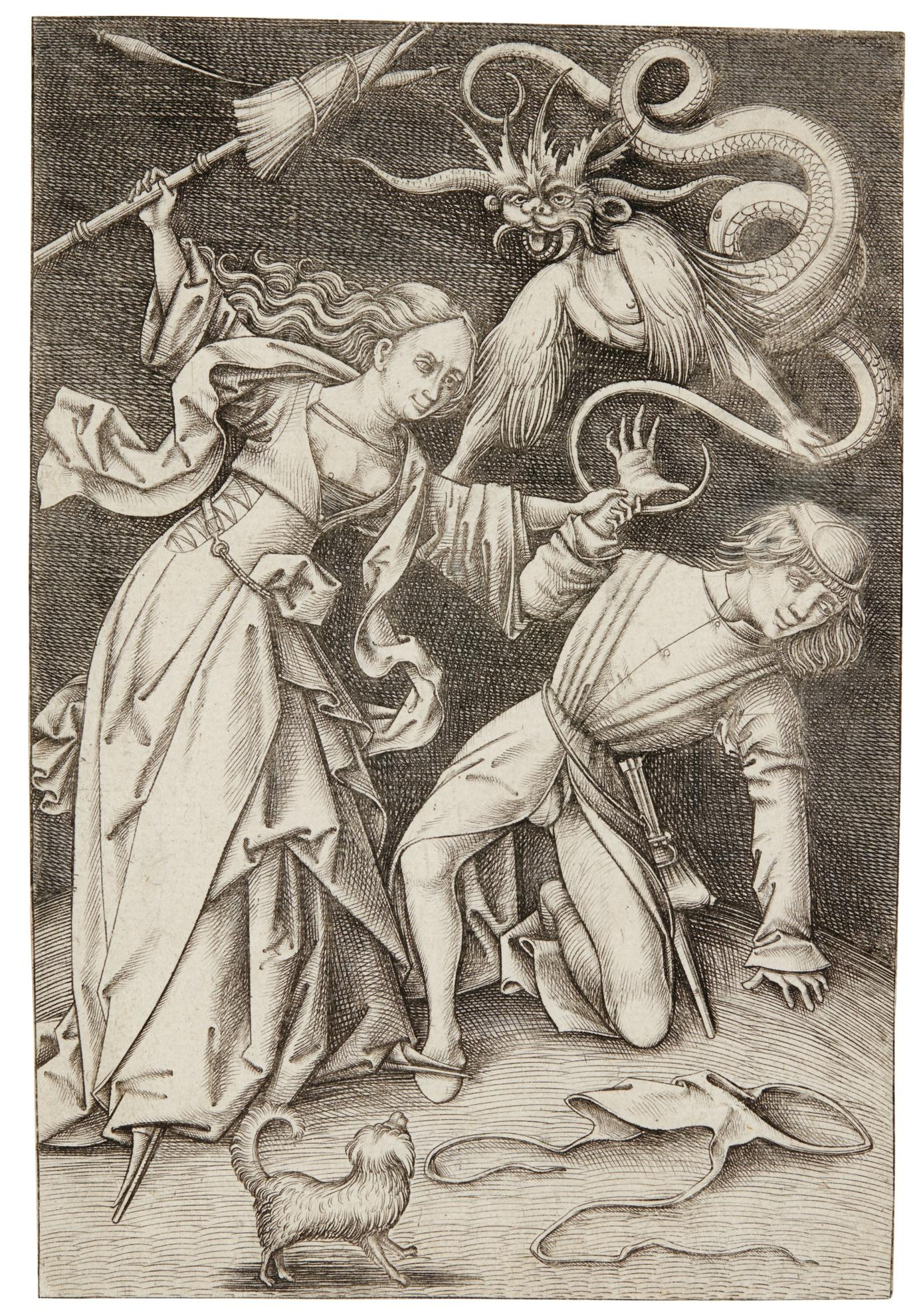 Israhel van Meckenem the Younger-The Angry Wife (G. 406; L., Holl. 504)-1500