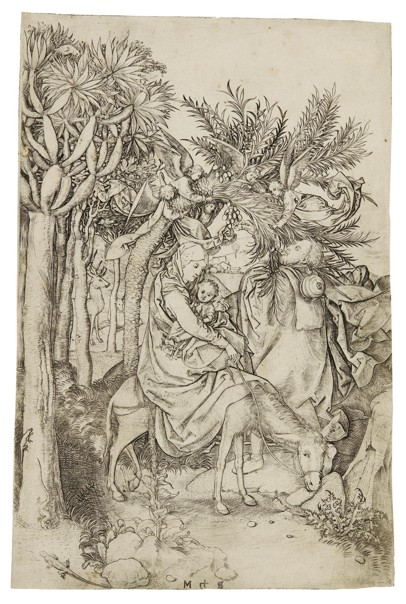 Martin Schongauer-The Flight Into Egypt (Bartsch, Lehrs, Hollstein 7)-1474