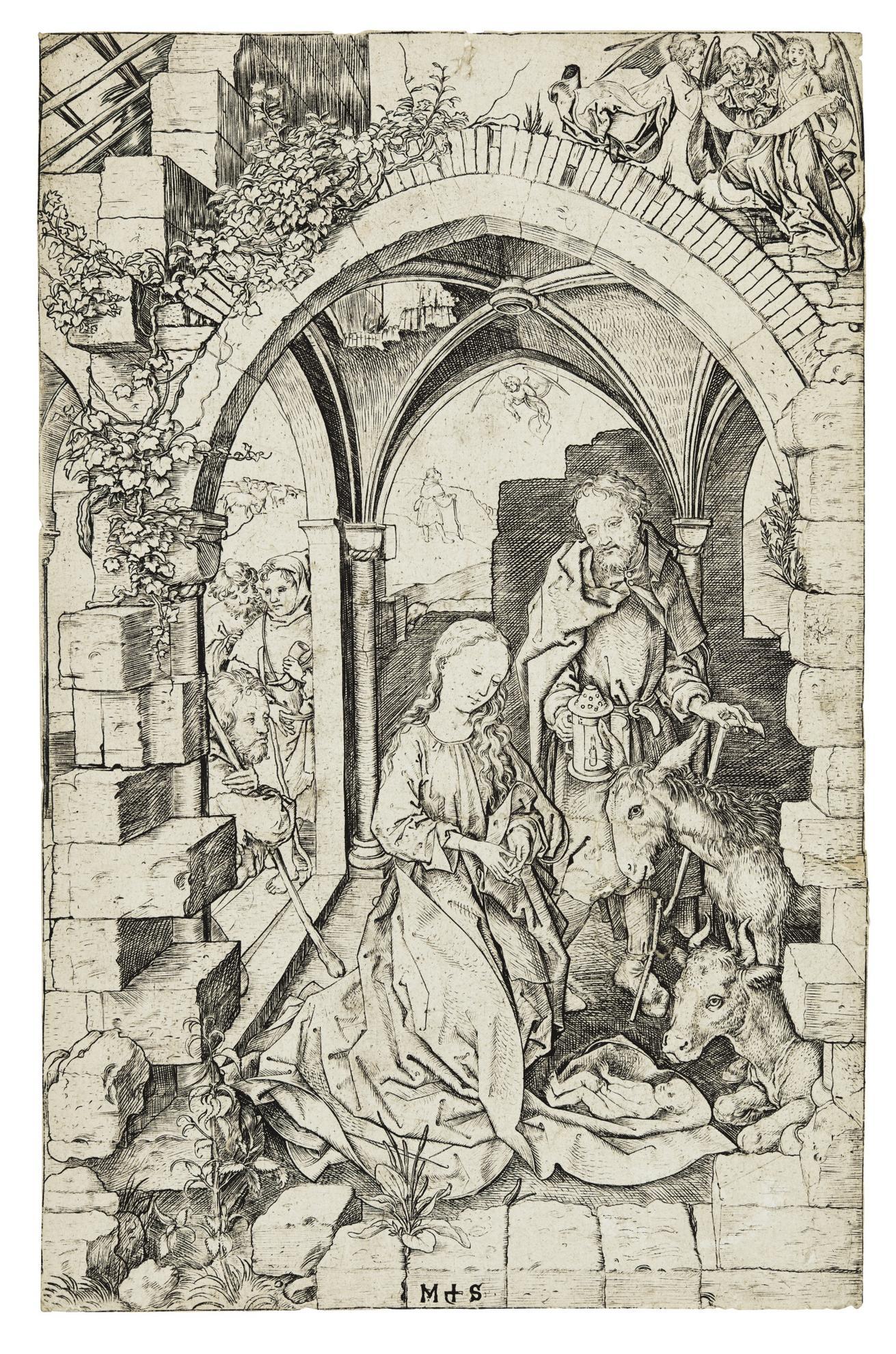 Martin Schongauer-The Nativity (B. 4; L., Holl. 5)-1473