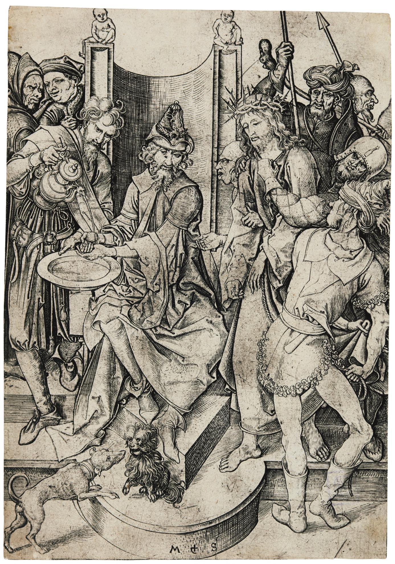 Martin Schongauer-Christ Before Pilate (B. 14; L., Holl. 24); Saint Philip (b., l., holl. 48)-1480