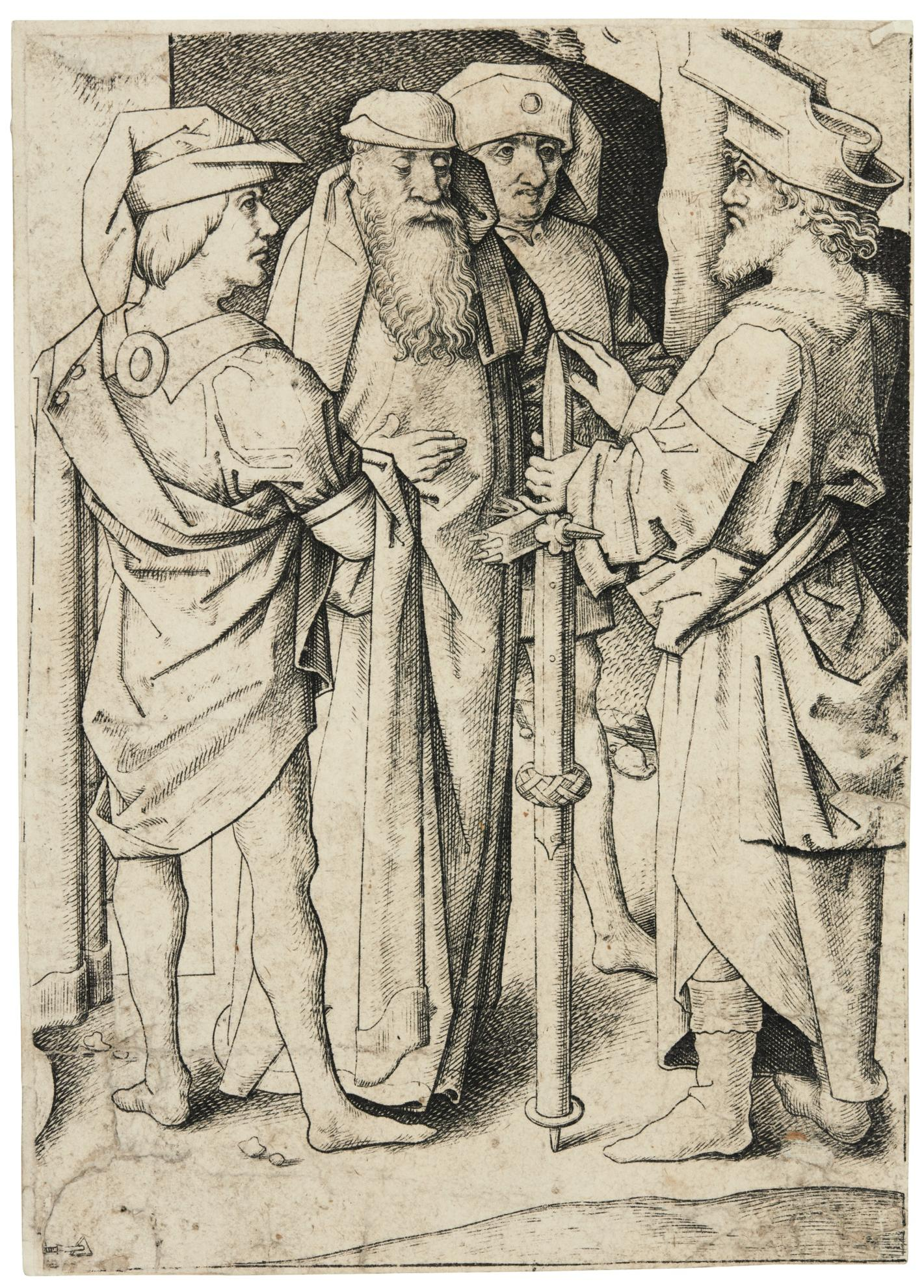 Master Iam Of Zwolle - The Calvary (B., L. Holl. 5); The Large Choir-Stalls with Christ blessing the Virgin: the central plate by Daniel Hopfer (cf. B. 19, Holl. 26); The First, and The Second Wise Virgin; The Second, and The Fourth Foolish Virgin-1495
