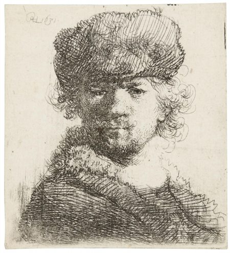 Rembrandt van Rijn-Self-Portrait In A Heavy Fur Cap (B., Holl. 16, New Holl. 80, H. 56)-1631