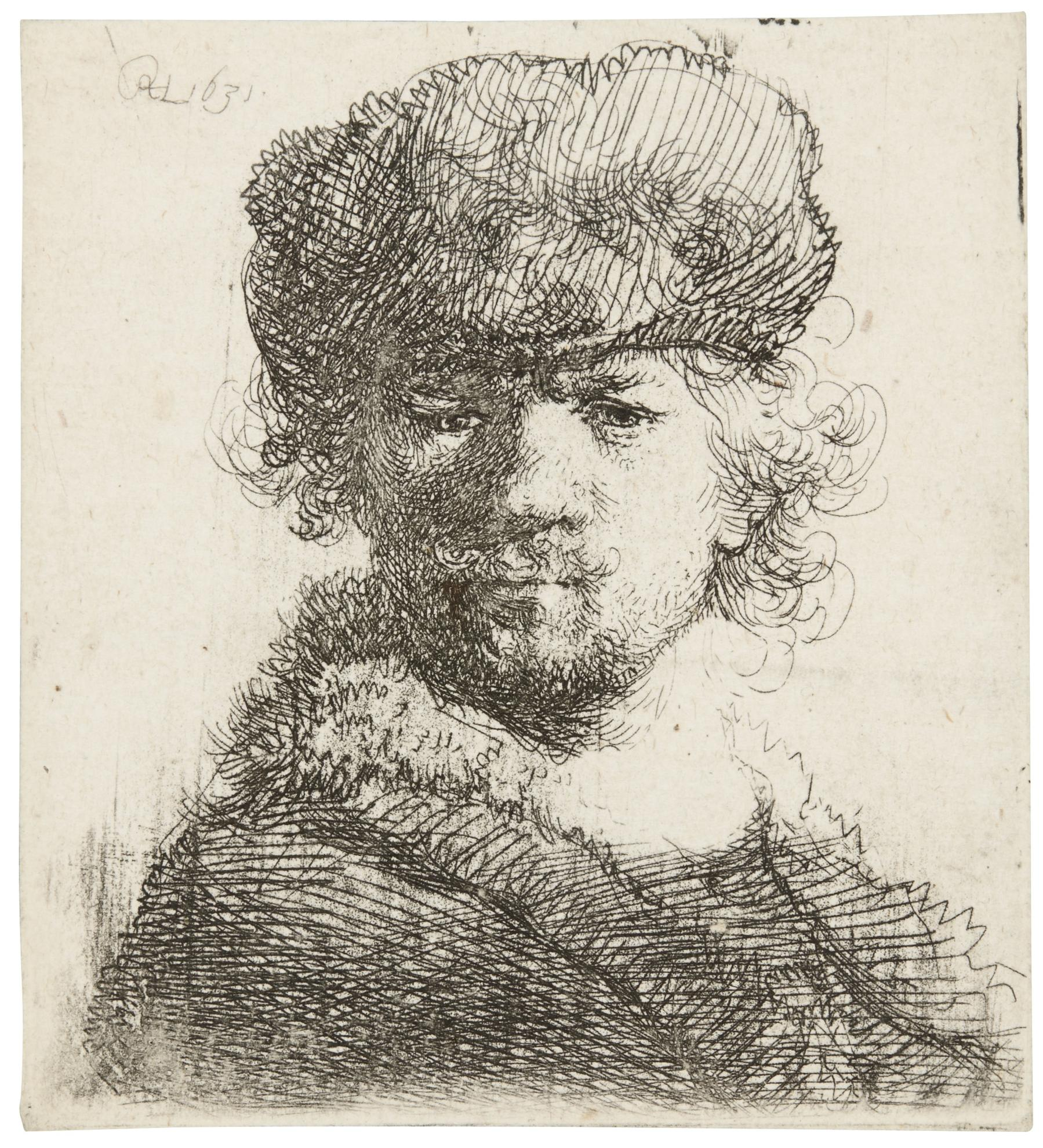 Rembrandt van Rijn-Self-Portrait In A Heavy Fur Cap (B., Holl. 16, New Holl. 80, H. 56)-1631
