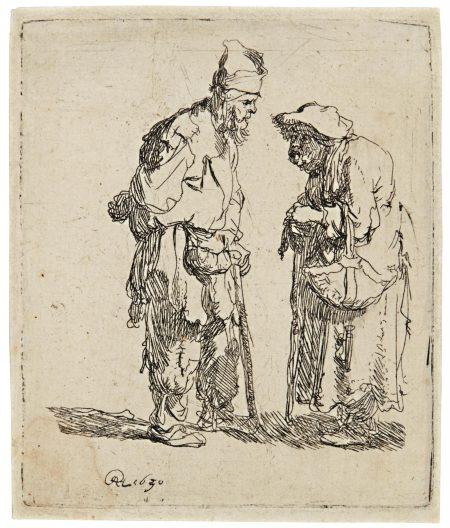 Rembrandt van Rijn-A Beggar Man And Beggar Woman Conversing (B., Holl. 164; New Holl. 45; H. 7)-1630