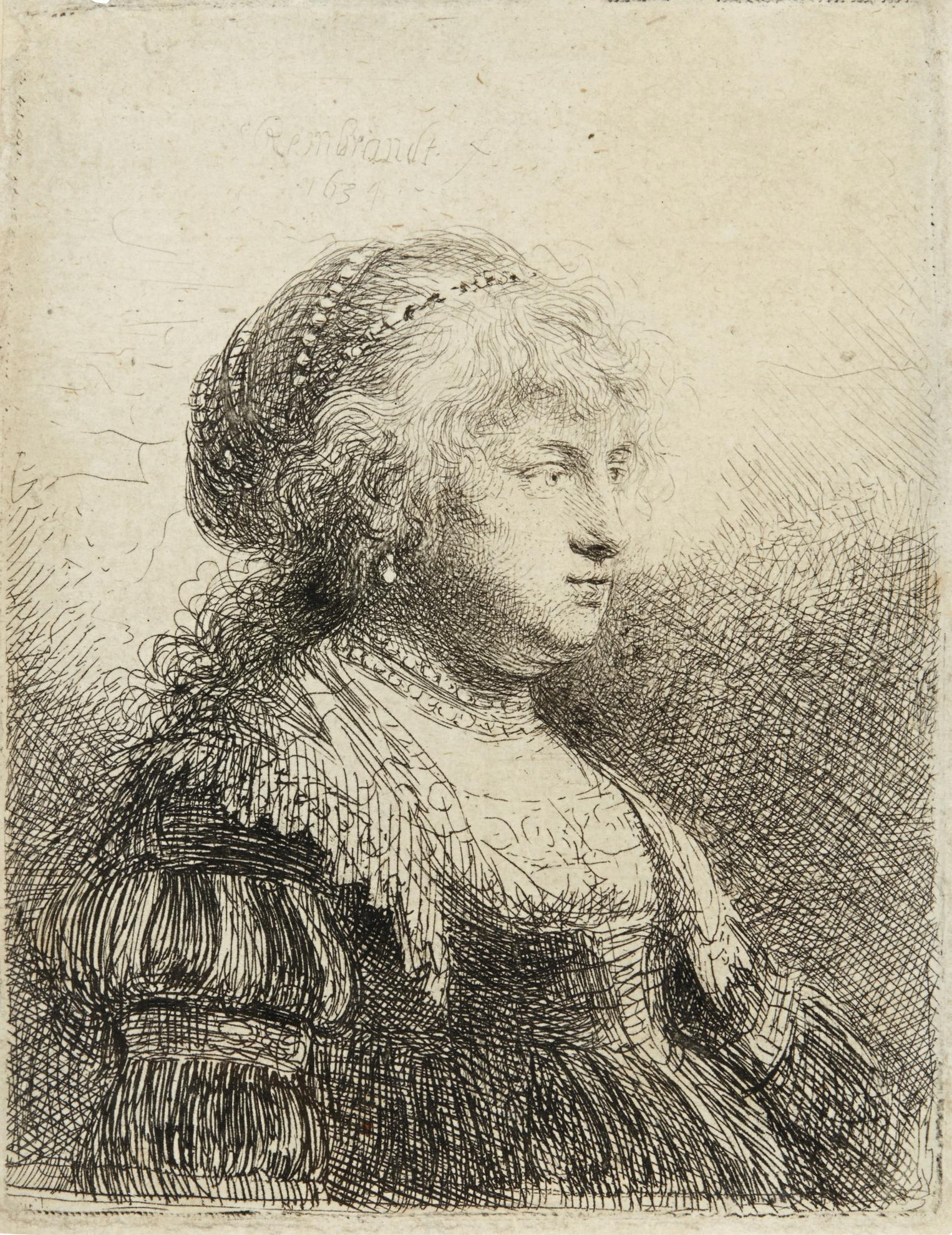 Rembrandt van Rijn-Saskia With Pearls In Her Hair (B., Holl. 347; New Holl. 136; H. 112)-1634