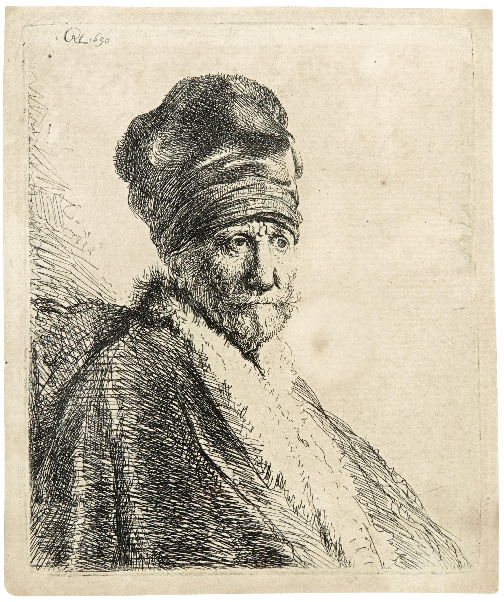 Rembrandt van Rijn-Bust Of A Man Wearing A High Cap, Three Quarters Right, The Artists Father? (B., Holl. 321; New Holl. 57; H. 22)-1630