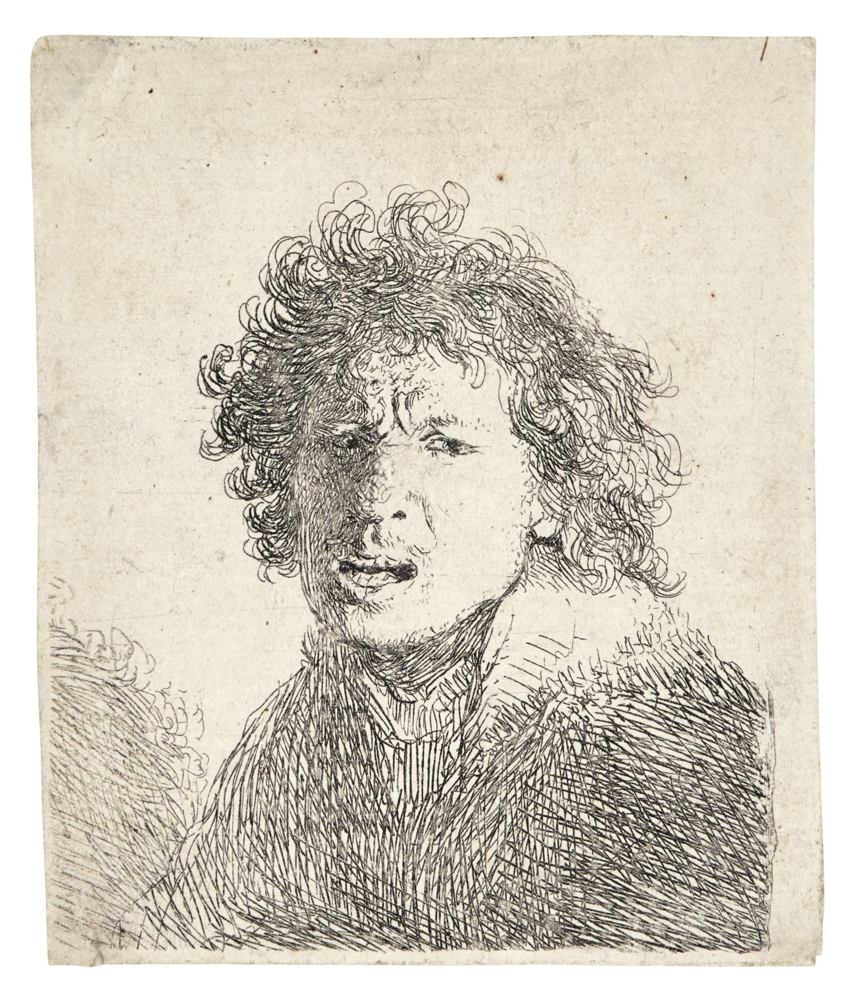 Rembrandt van Rijn-Self-Portrait Open Mouthed, As If Shouting: Bust (B., Holl. 13; New Holl. 67; H. 31)-1630