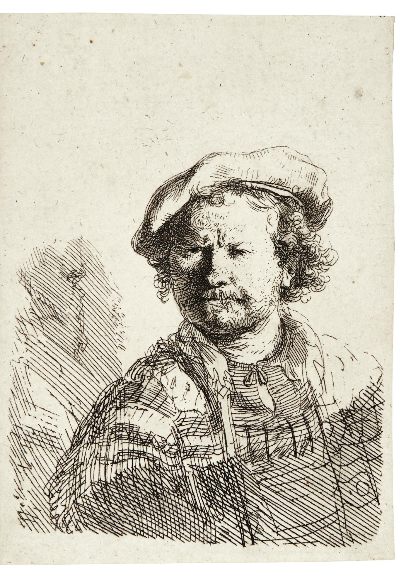 Rembrandt van Rijn-Self-Portrait In A Flat Cap And Embroidered Dress (B., Holl. 26; New Holl. 210; H. 157)-1642