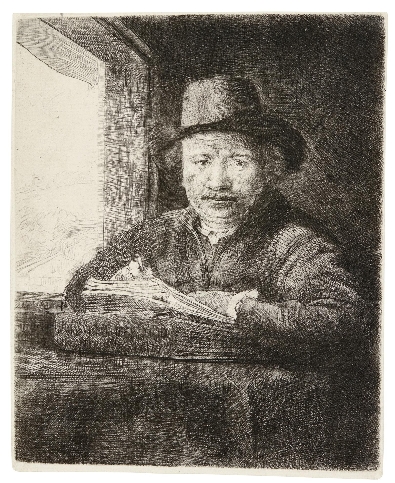 Rembrandt van Rijn-Self-Portrait Etching At A Window (B., Holl. 22; New Holl. 240; H. 229)-1648