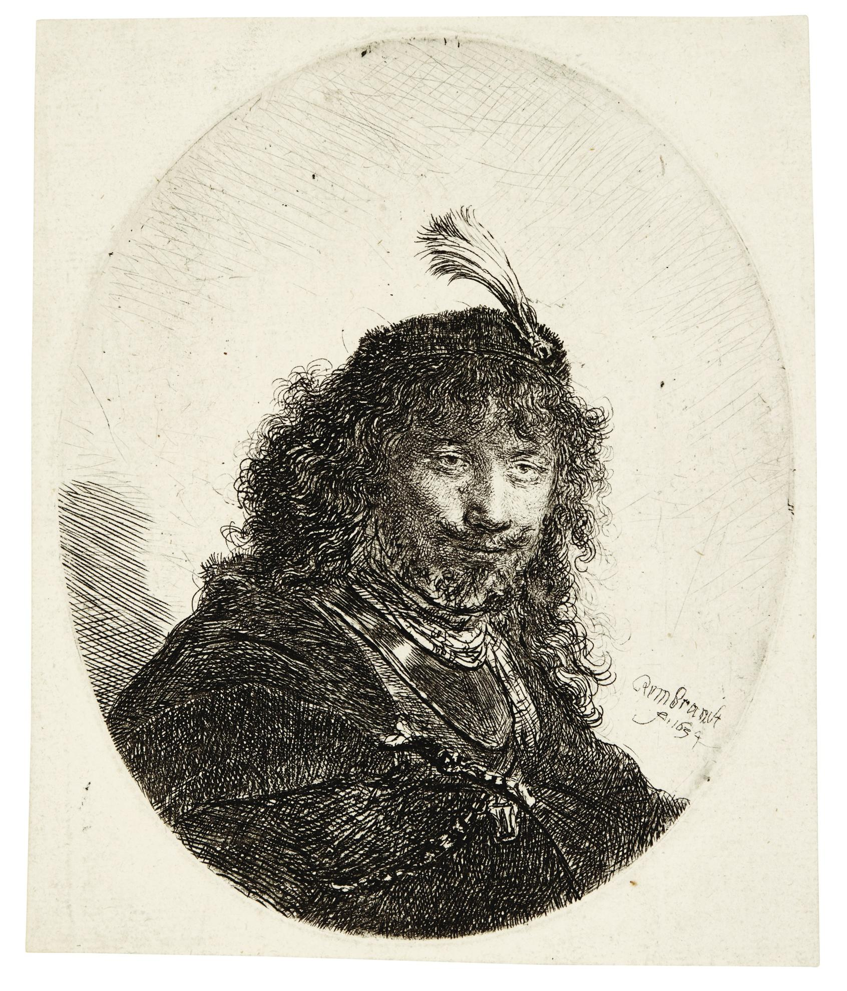 Rembrandt van Rijn-Self-Portrait (?) With Plumed Cap And Lowered Sabre (B., Holl. 23; New Holl. 135; H. 110)-1634