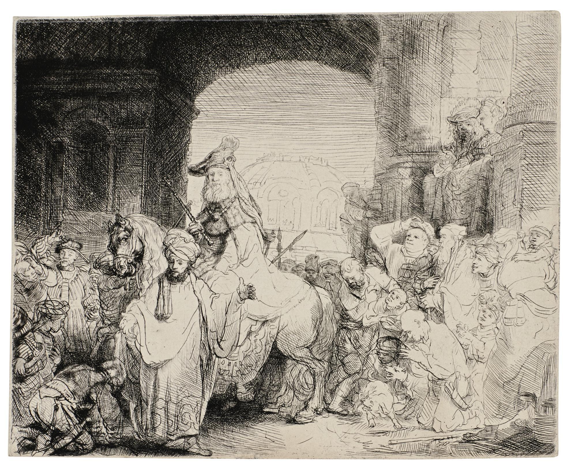 Rembrandt van Rijn-The Triumph Of Mordecai (B., Holl. 40; New Holl. 185; H. 172)-1641
