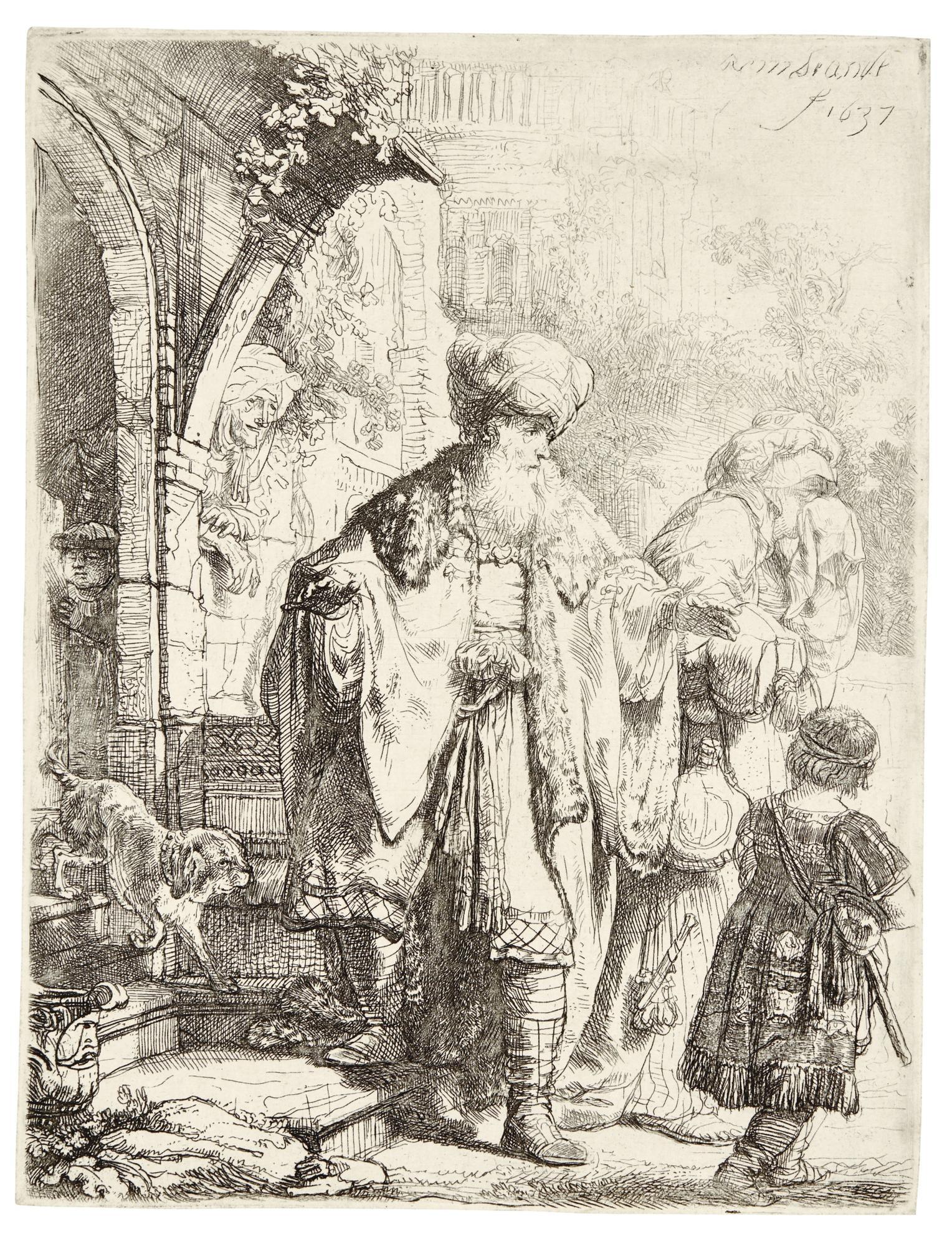 Rembrandt van Rijn-Abraham Casting Out Hagar And Ishmael (B., Holl. 30; New Holl. 166; H. 149)-1637