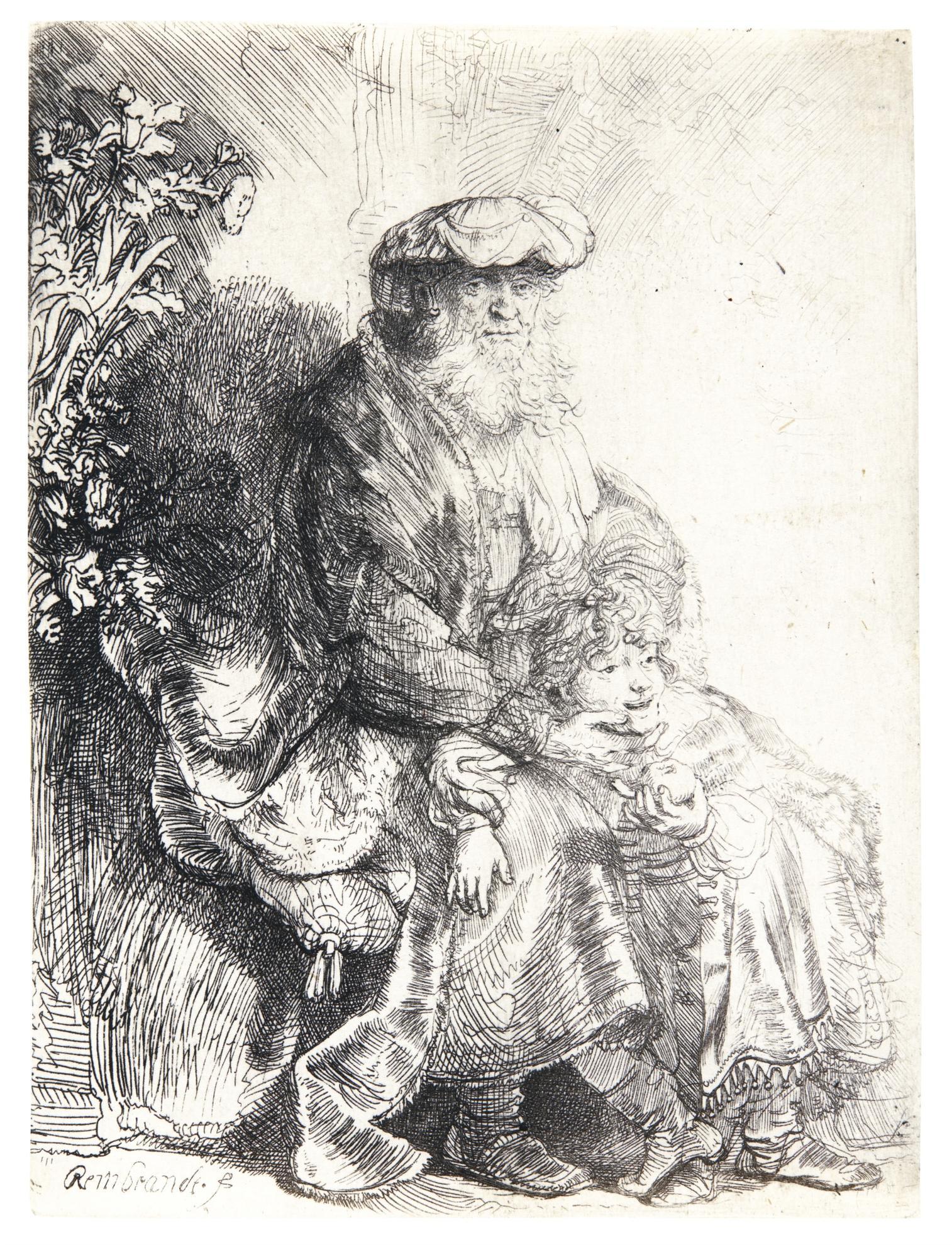 Rembrandt van Rijn-Abraham Caressing Isaac (B., Holl. 33; New Holl. 165; H. 148)-1637