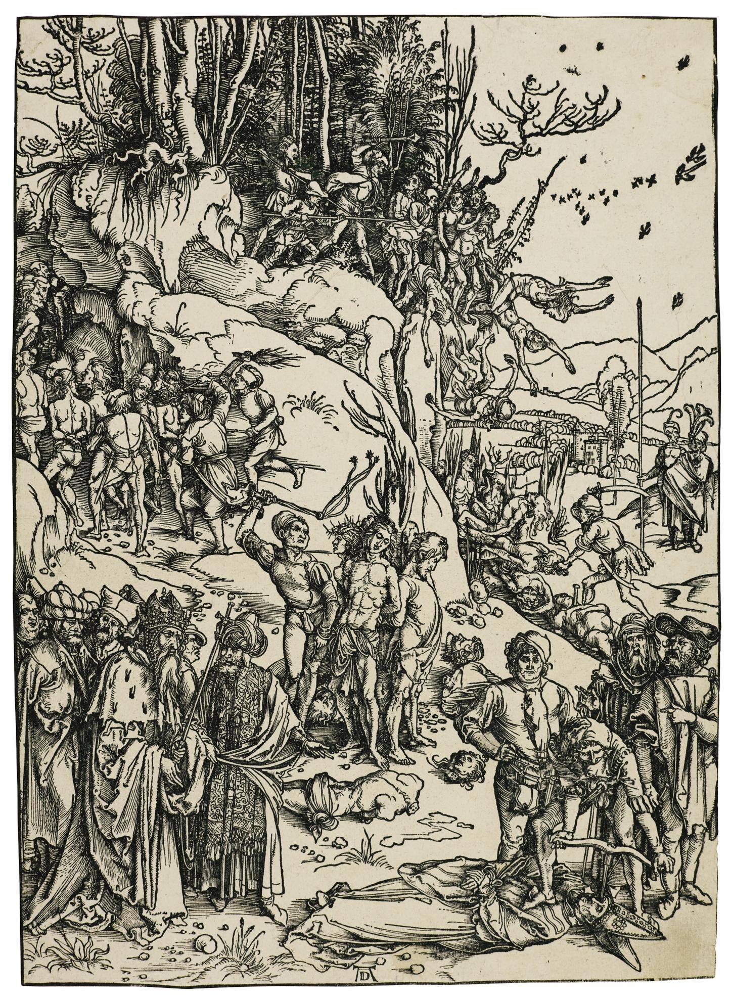 Albrecht Durer-The Martyrdom Of The Ten Thousand (B. 117; M., Holl. 218)-1497