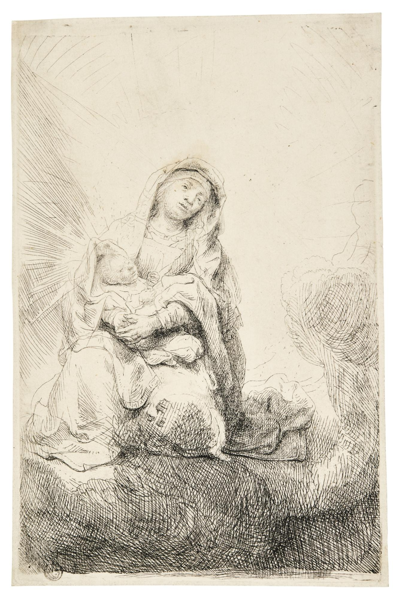 Rembrandt van Rijn-The Virgin And Child In The Clouds (B., Holl. 61; New Holl. 188; H. 186)-1641