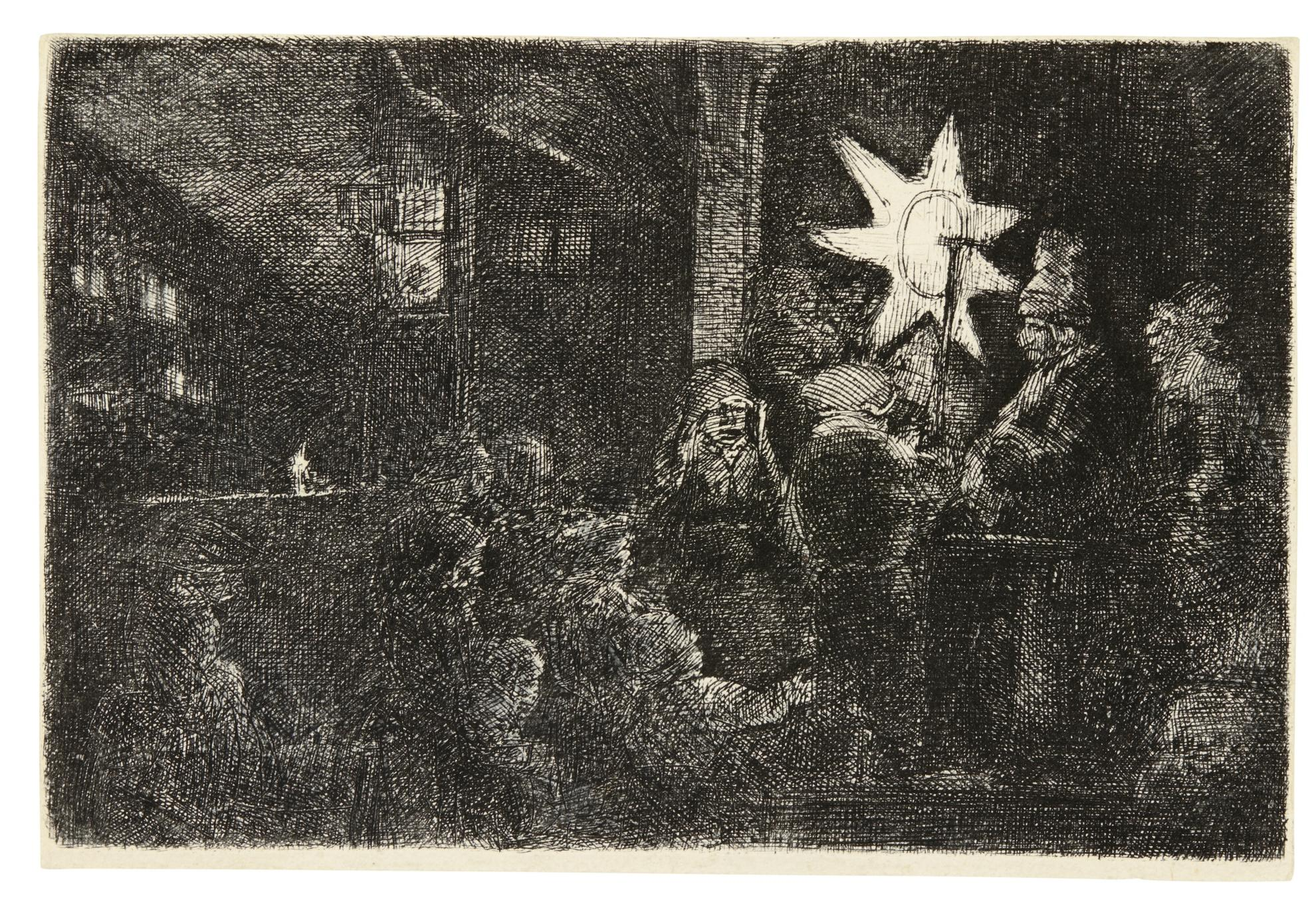 Rembrandt van Rijn-The Star Of The Kings: A Night Piece (B., Holl. 113; New Holl. 263; H. 254)-1651