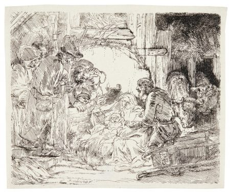 Rembrandt van Rijn-The Adoration Of The Shepherds: With The Lamp (B., Holl. 45; New Holl. 279; H. 273)-1654