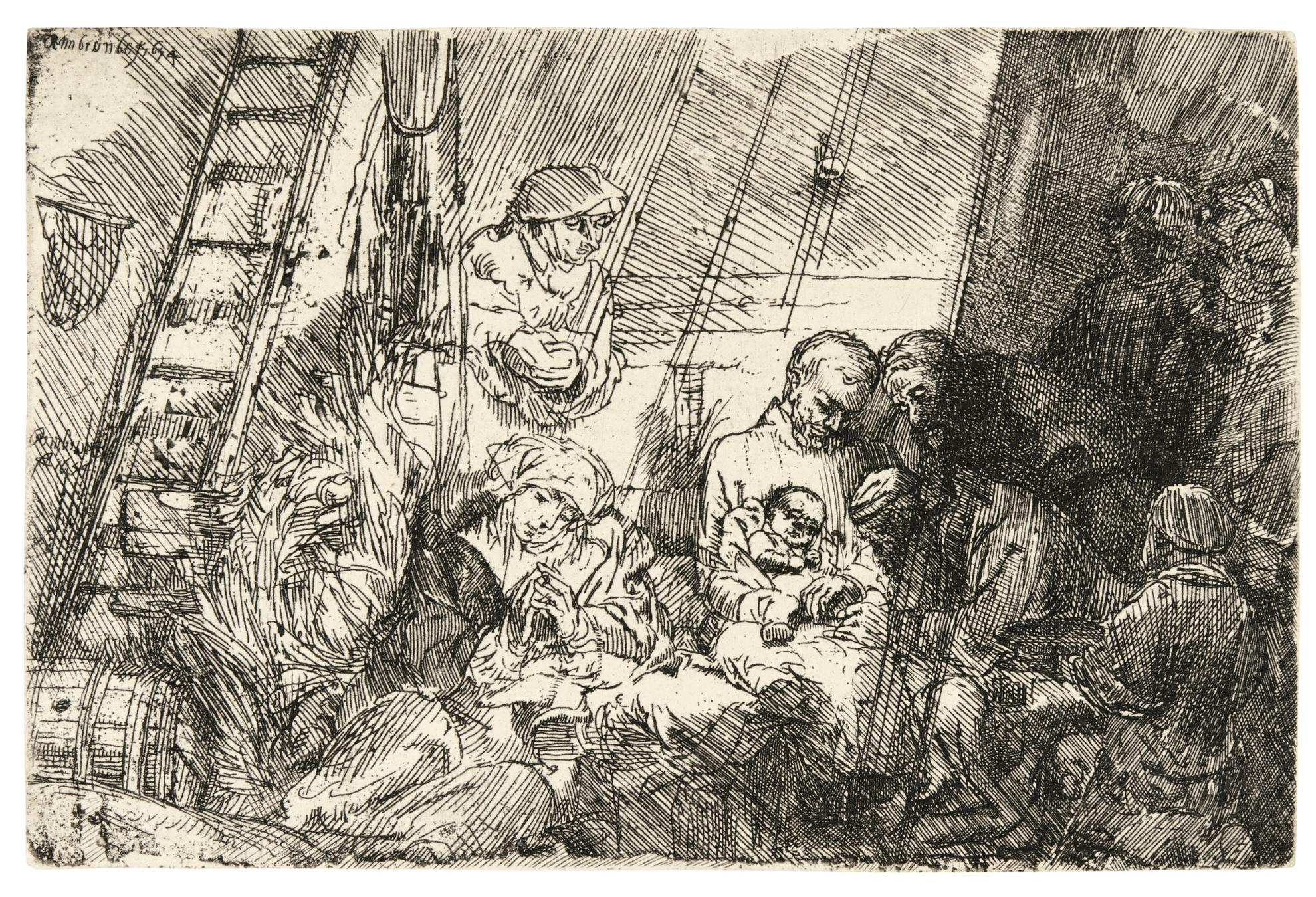 Rembrandt van Rijn-The Circumcision In The Stable (B., Holl. 47; New Holl. 280; H. 274)-1654