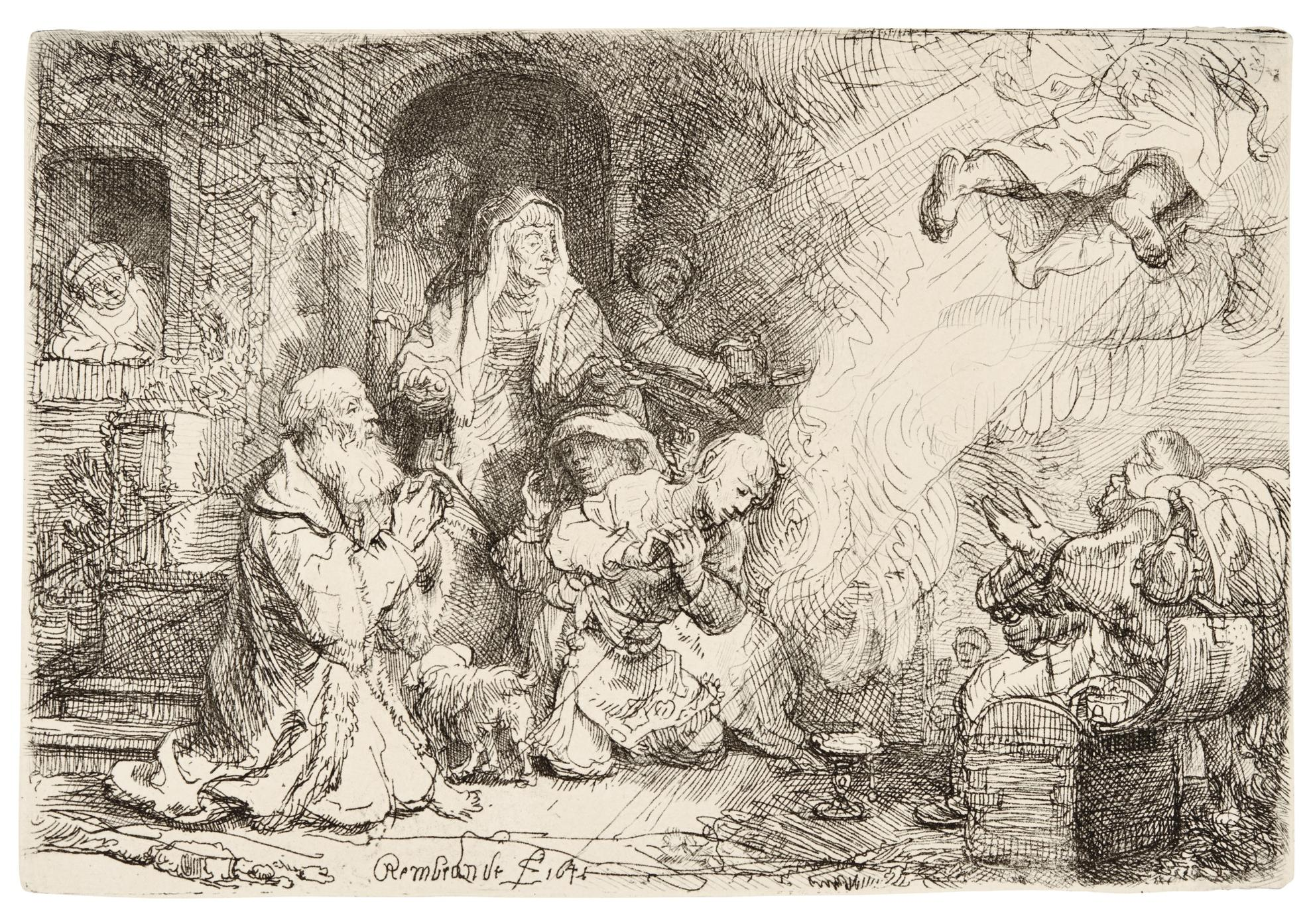 Rembrandt van Rijn-The Angel Departing From The Family Of Tobias (B., Holl. 43; New Holl. 189; H. 185)-1641