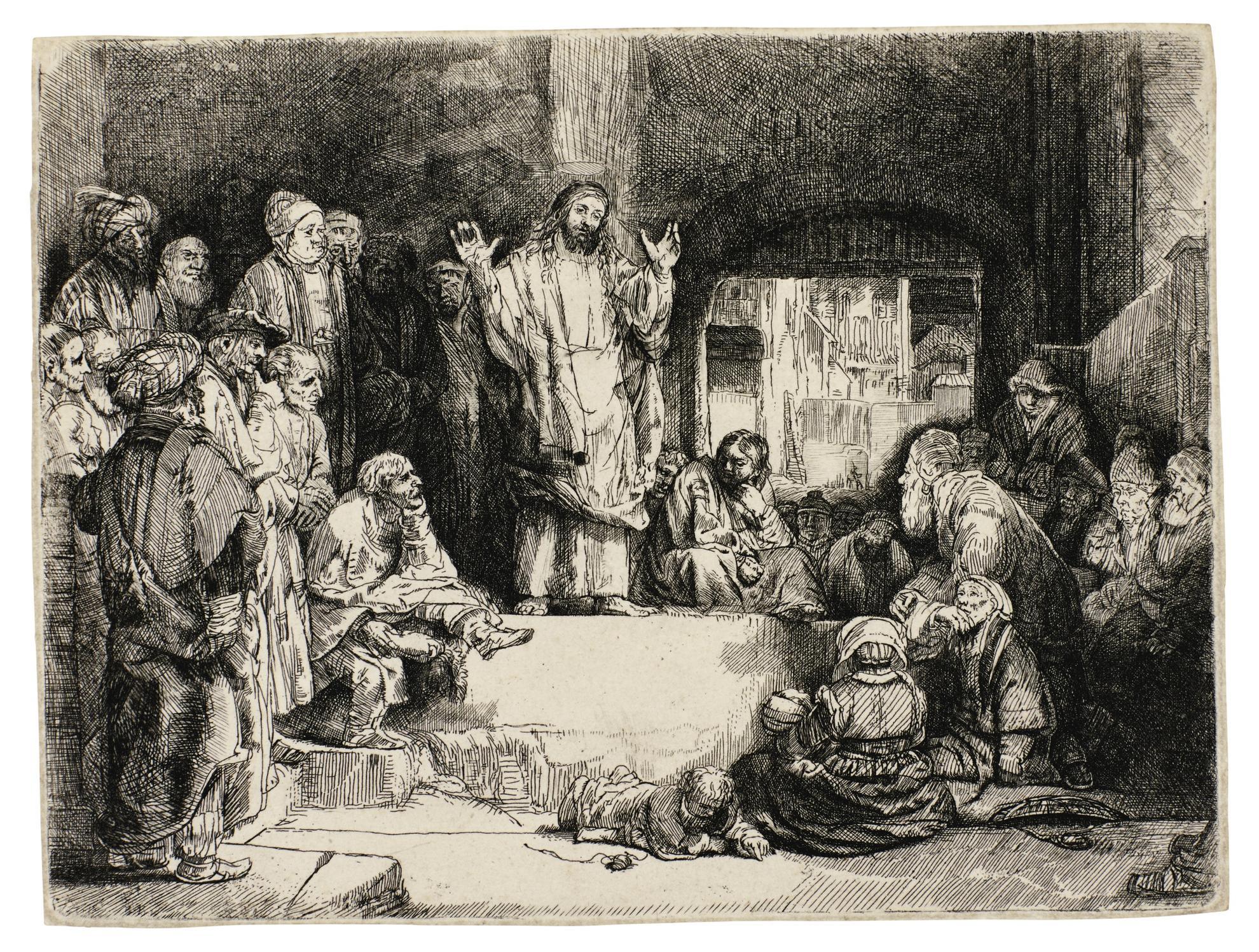 Rembrandt van Rijn-Christ Preaching (La Petite Tombe) (B., Holl. 67; New Holl. 298; H. 256)-1657
