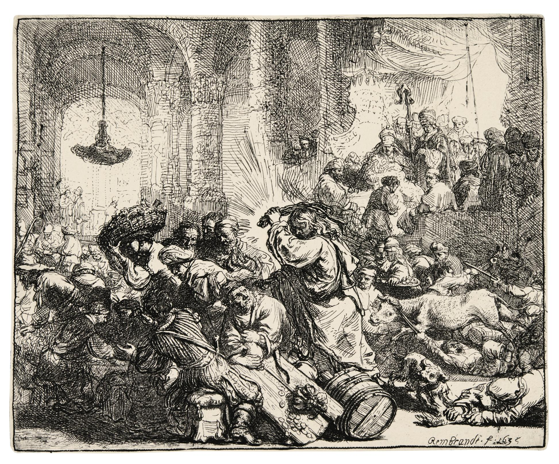 Rembrandt van Rijn-Christ Driving The Money Changers From The Temple (B., Holl. 69; New Holl. 139; H. 126)-1635