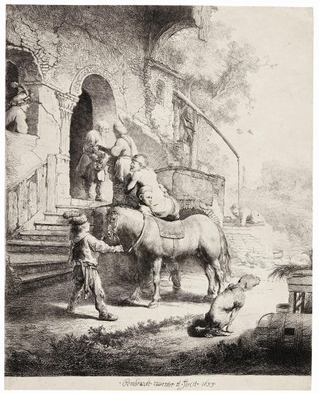 Rembrandt van Rijn-The Good Samaritan (B., Holl. 90; New Holl. 116; H. 101)-1633