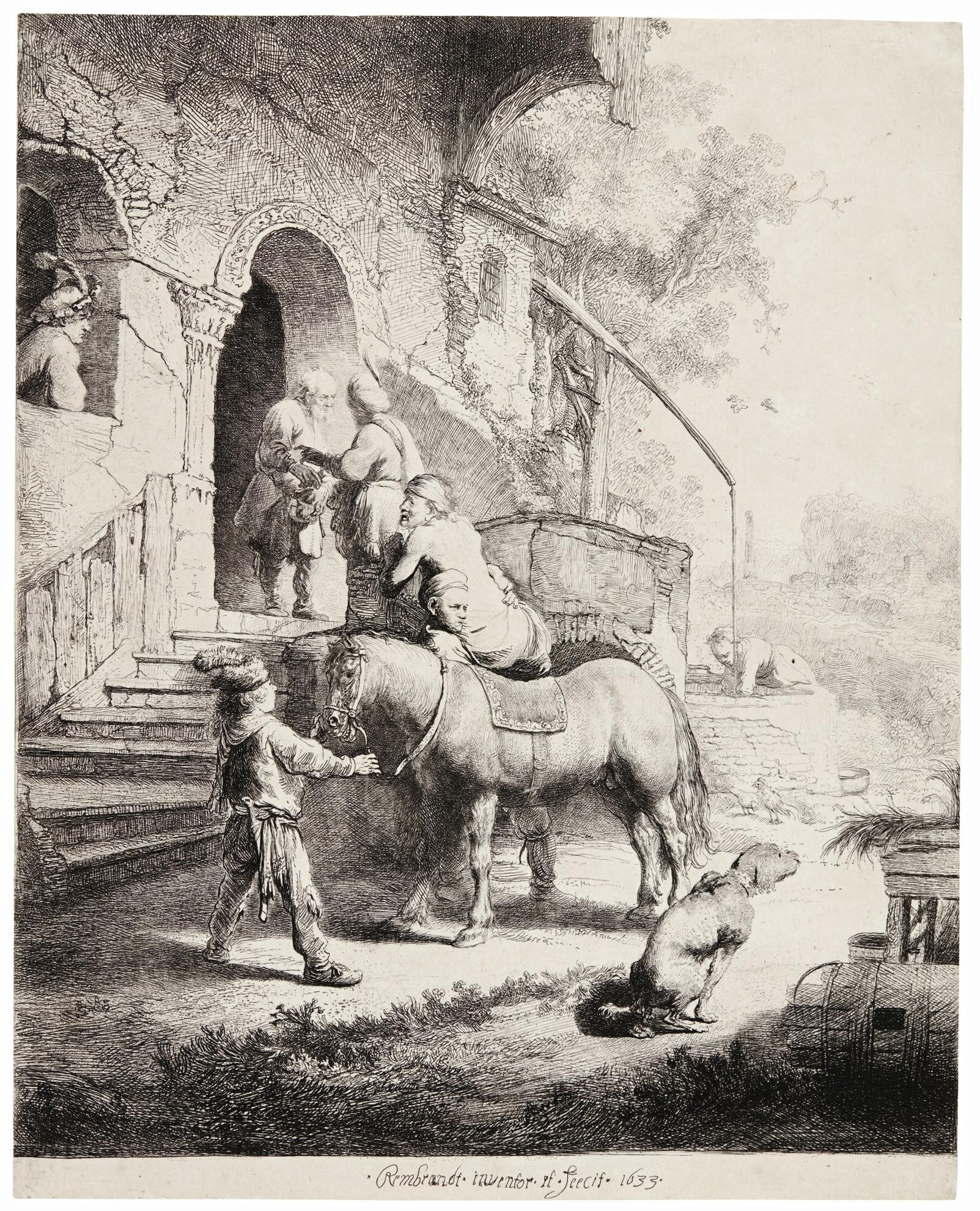 Rembrandt van Rijn-The Good Samaritan (B., Holl. 90; New Holl. 116; H. 101)-1633