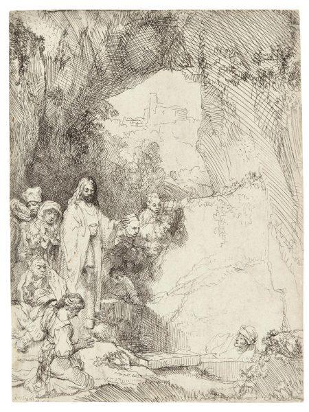 Rembrandt van Rijn-The Raising Of Lazarus: Small Plate (B., Holl. 72; New Holl. 206; H. 198)-1642