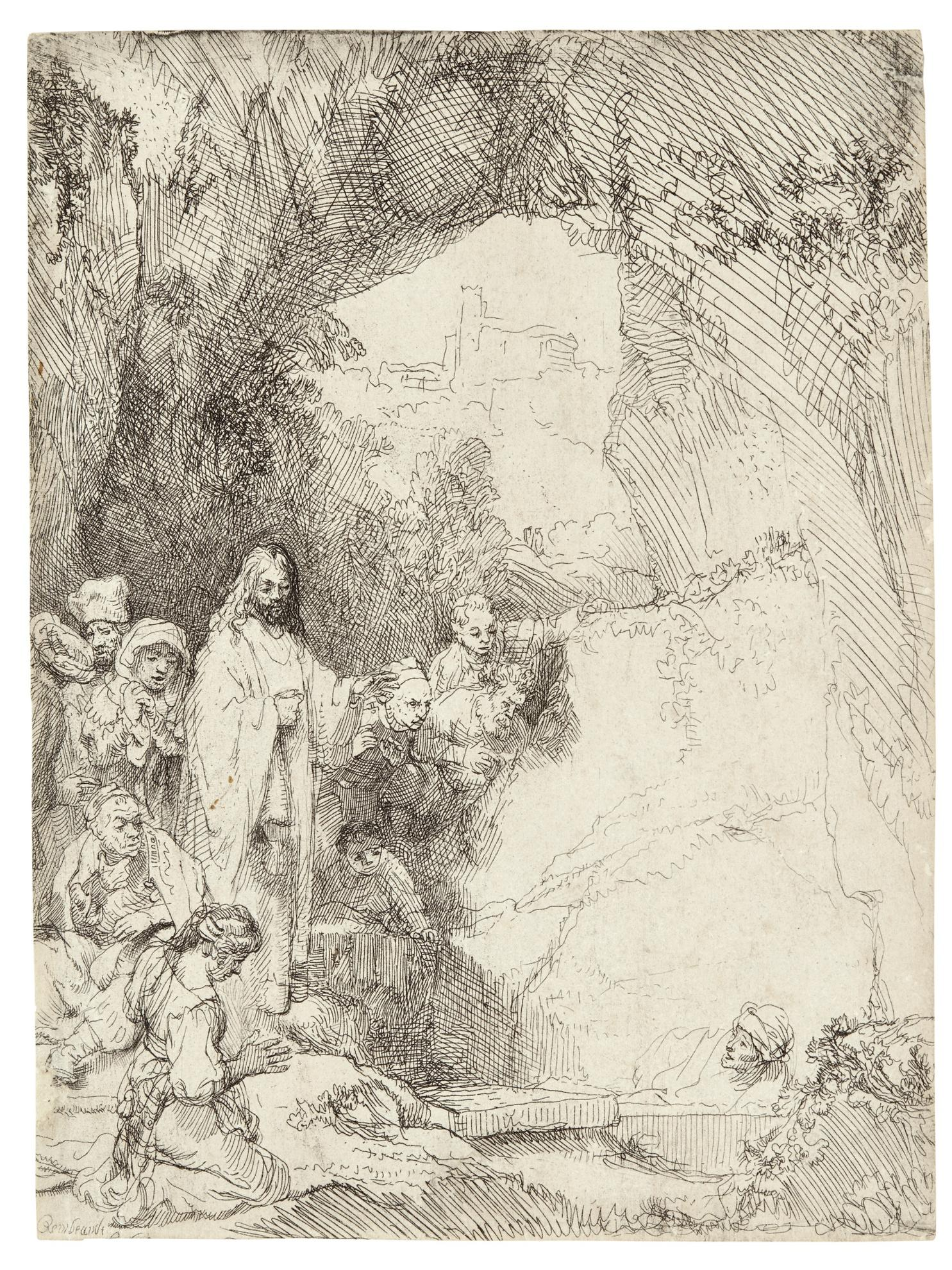 Rembrandt van Rijn-The Raising Of Lazarus: Small Plate (B., Holl. 72; New Holl. 206; H. 198)-1642