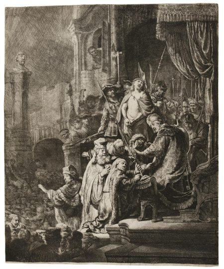 Rembrandt van Rijn-Christ Before Pilate: Large Plate (B., Holl. 77; New Holl. 155; H. 143)-1635