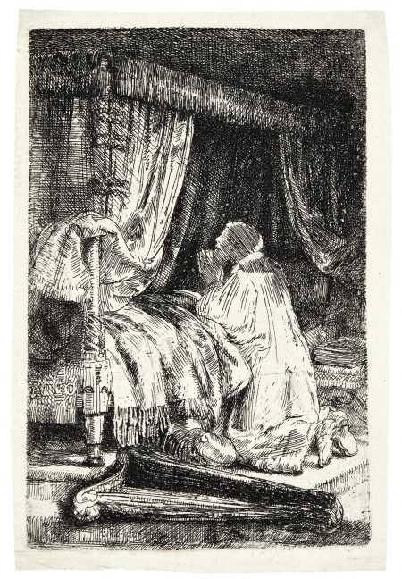 Rembrandt van Rijn-David In Prayer (B., Holl. 41; New Holl. 268; H. 258)-1652