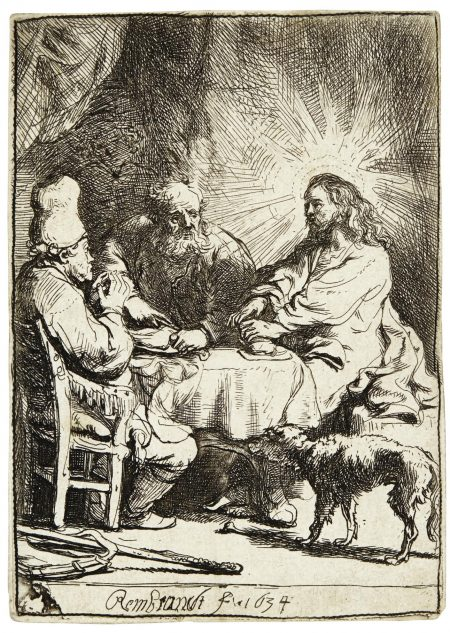 Rembrandt van Rijn-Christ At Emmaus: The Smaller Plate (B., Holl. 88; New Holl. 129; H. 121)-1634