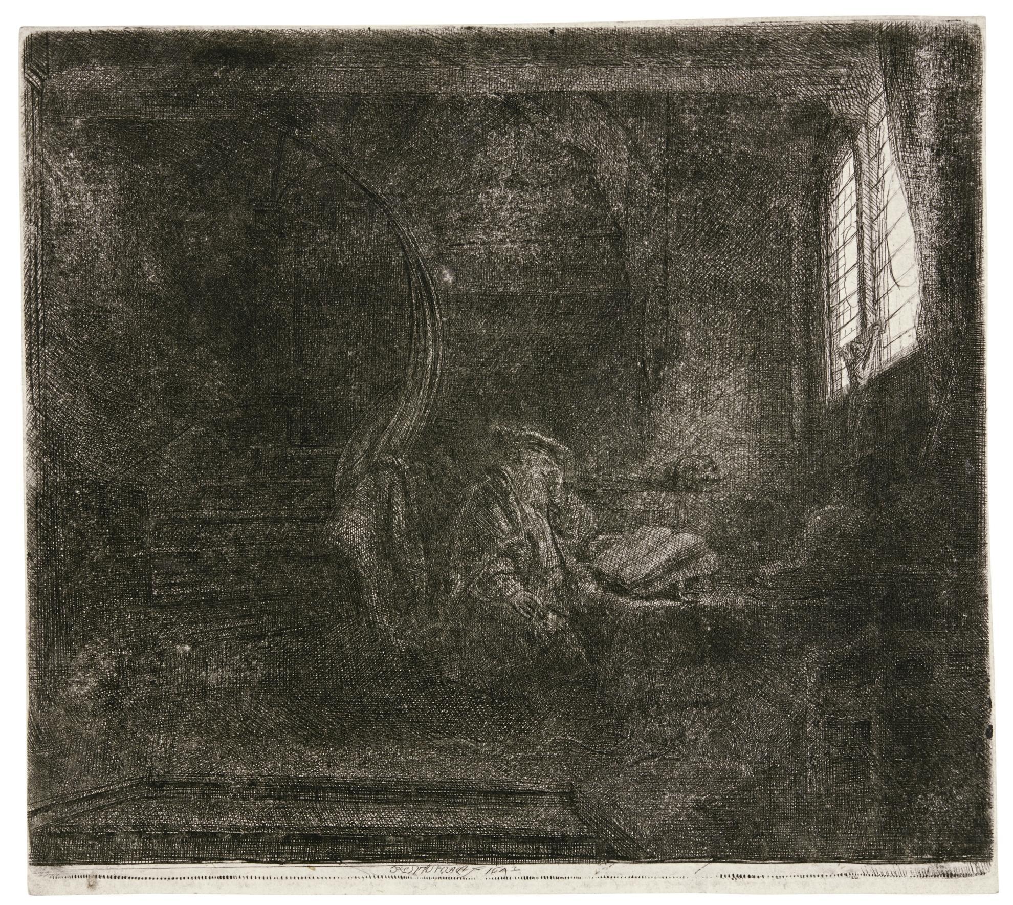 Rembrandt van Rijn-Saint Jerome In A Dark Chamber (B., Holl. 105; New Holl. 212; H. 201)-1642