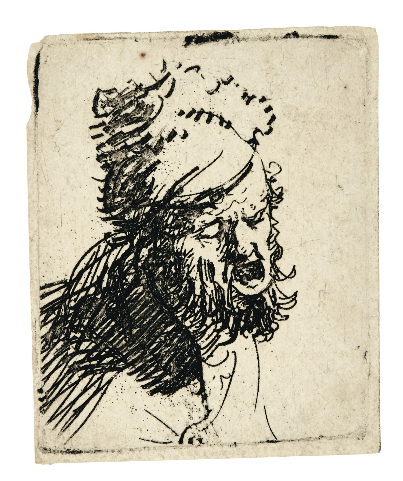 Rembrandt van Rijn-Head Of A Man In A Fur Cap, Crying Out (B., Holl. 327; New Holl. 36; H. 37)-1629