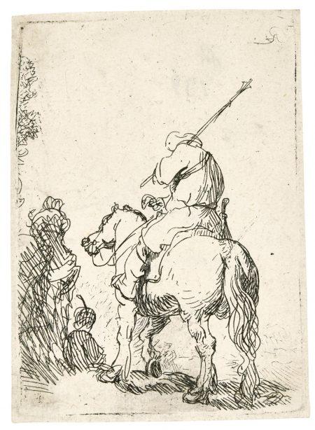 Rembrandt van Rijn-Turbaned Soldier On Horseback (B., Holl. 139; New Holl. 43; H. 99)-1629