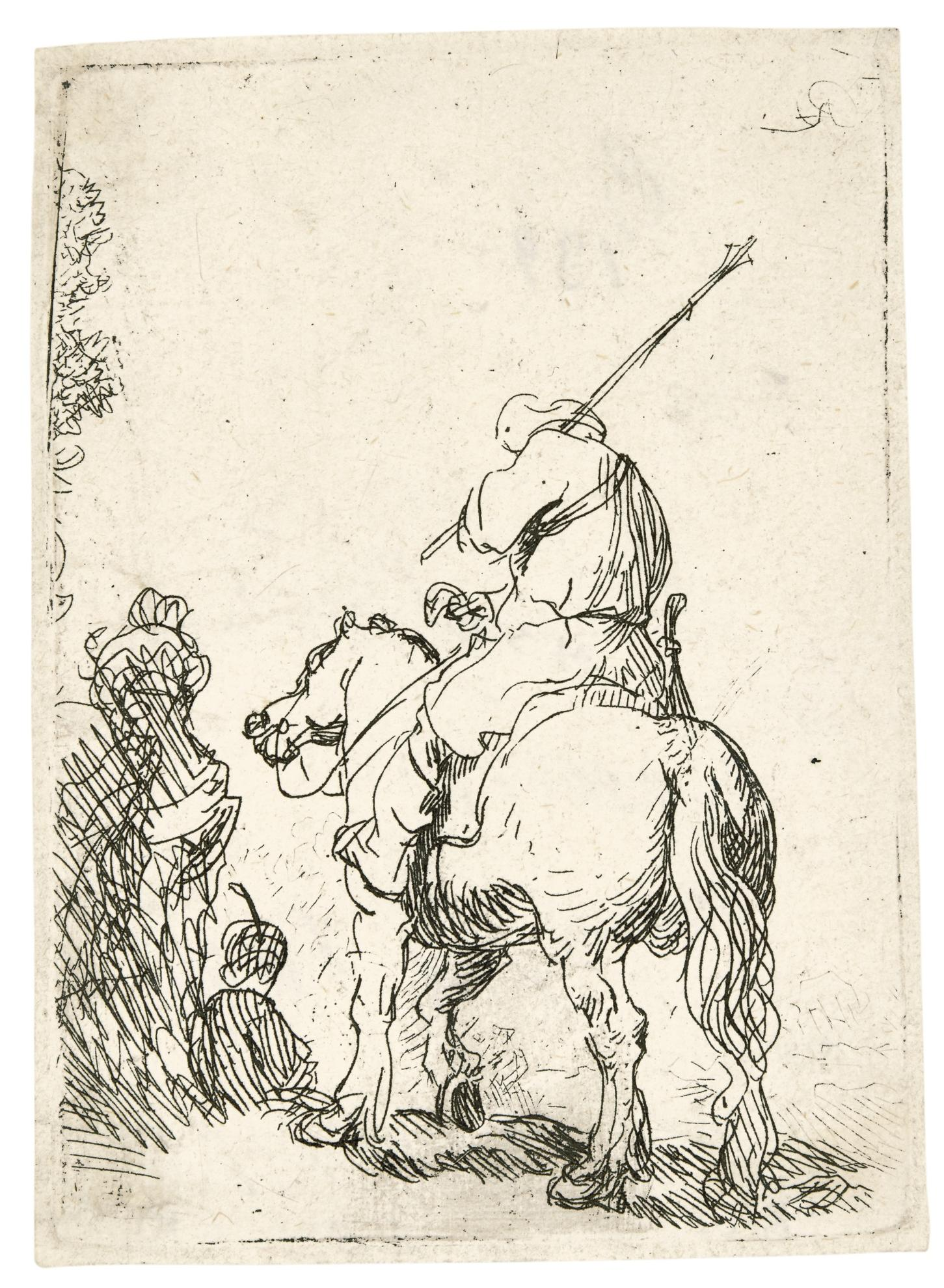 Rembrandt van Rijn-Turbaned Soldier On Horseback (B., Holl. 139; New Holl. 43; H. 99)-1629