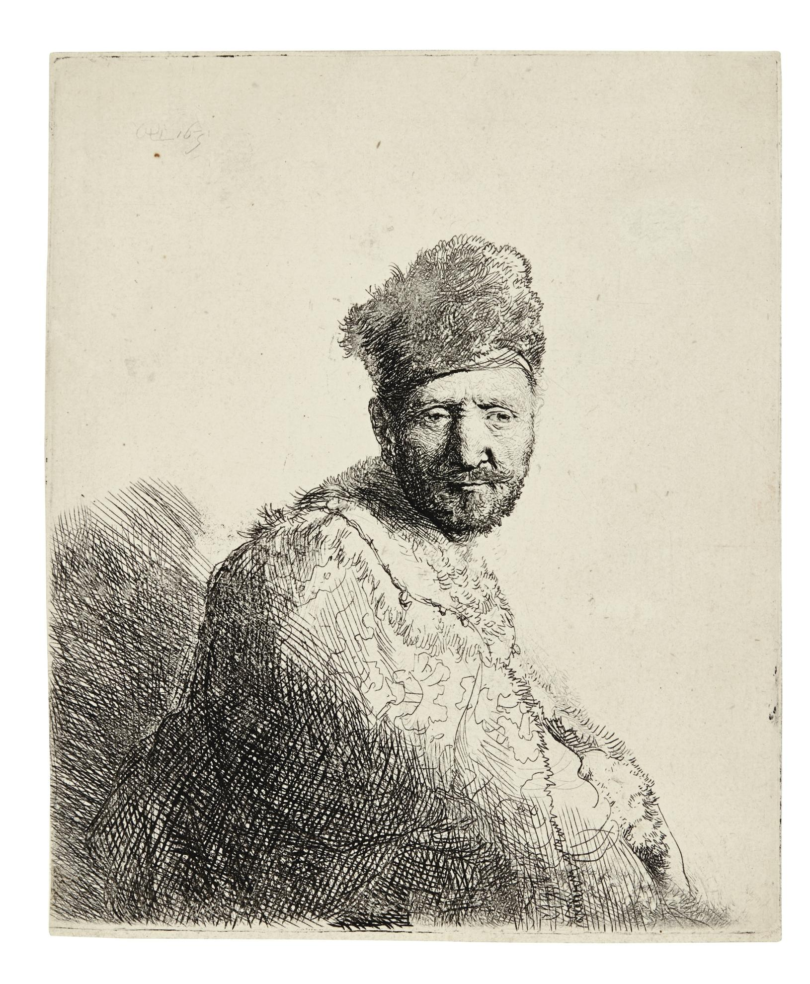 Rembrandt van Rijn-Bearded Man, In A Furred Oriental Cap And Robe (B., Holl. 263; New Holl. 85; H. 53)-1631