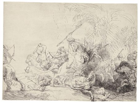 Rembrandt van Rijn-The Large Lion Hunt (B., Holl. 114; New Holl. 187; H. 181)-1641