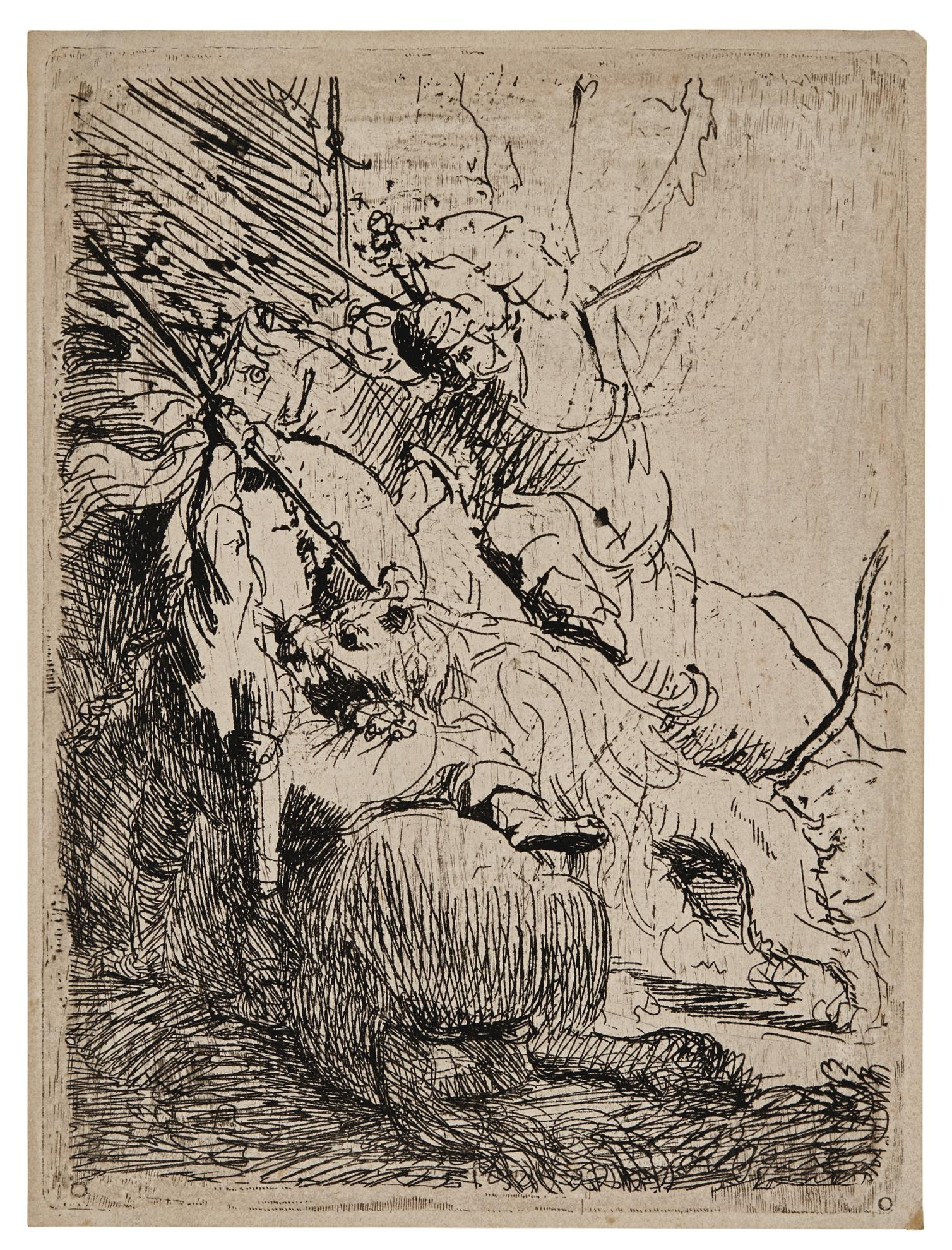 Rembrandt van Rijn-The Small Lion Hunt (With One Lion) (B., Holl. 116; New Holl. 29; H. 6)-1629