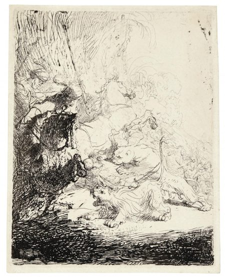 Rembrandt van Rijn-The Small Lion Hunt (With Two Lions) (B., Holl. 115; New Holl. 28; H. 180)-1629
