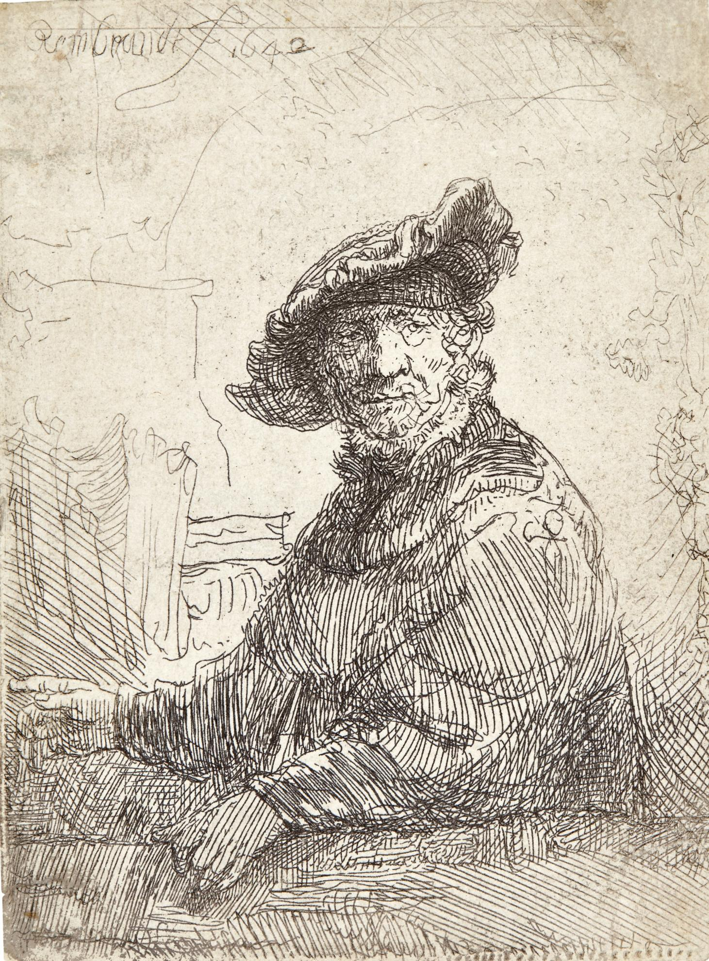 Rembrandt van Rijn-Man In An Arbor (B., Holl. 257; New Holl. 208; H. 194)-1642