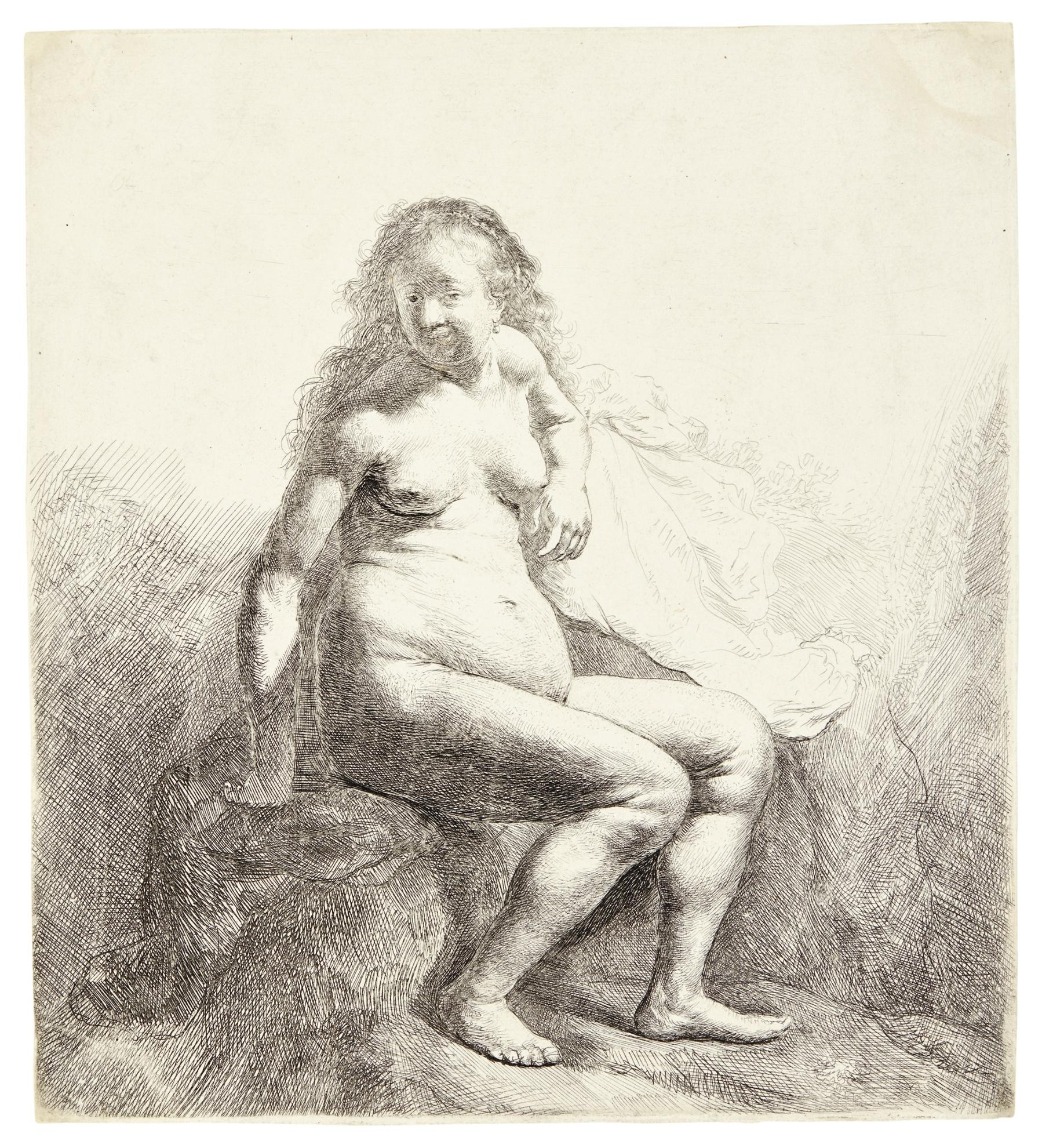 Rembrandt van Rijn-Naked Woman On A Mound (B., Holl. 198; New Holl. 88; H. 43)-1631