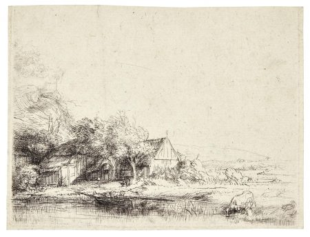 Rembrandt van Rijn-Landscape With A Cow Drinking (B., Holl. 237; New Holl. 251; H. 240)-1650