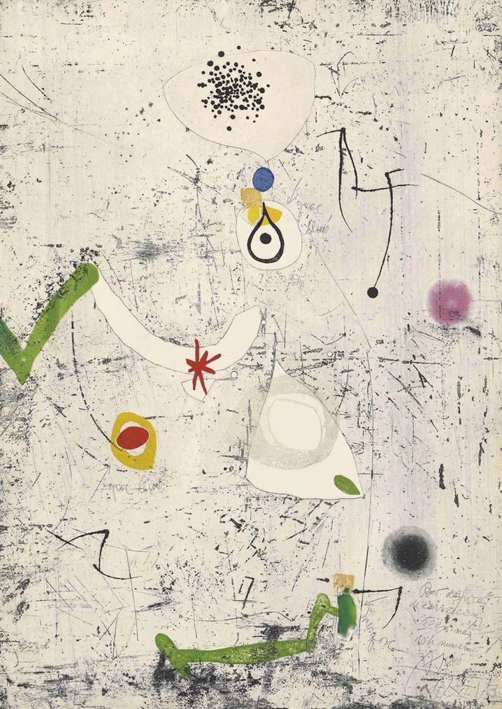 Joan Miro-Plate 5 From: Joan Miro. Gravats 5 Poemes. Joan Salvat-Papasseit-1973