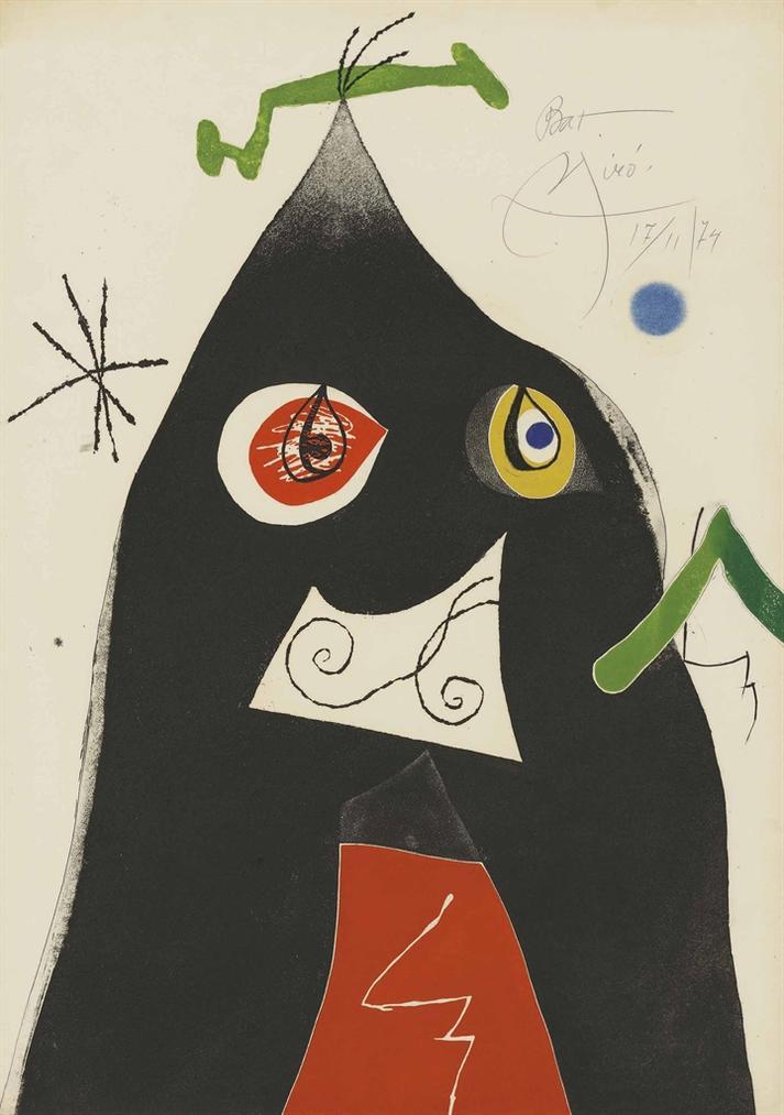 Joan Miro-Plate 1 From: Quatre Colors Aparien El Mon-1974