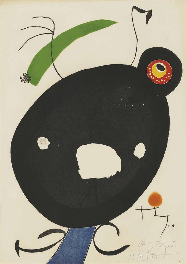 Joan Miro-Plate 2 From: Quatre Colors Aparien El Mon-1974
