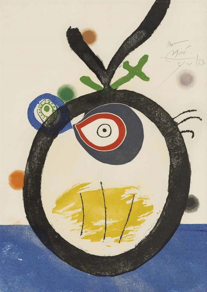 Joan Miro-Plate 3, From: Quatre Colors Aparien El Mon-1974