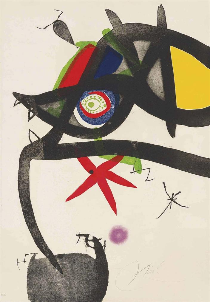 Joan Miro-Plate 4, From: Quatre Colors Aparien El Mon-1974