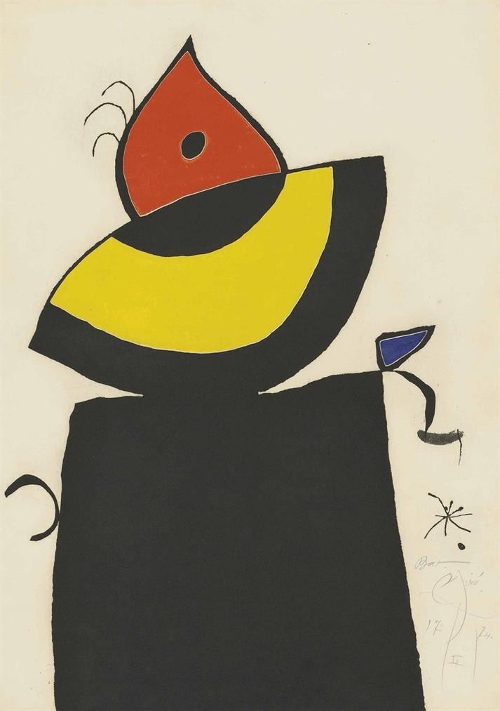 Joan Miro-Plate 5 From: Quatre Colors Aparien El Mon-1974
