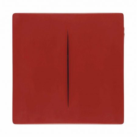 After Lucio Fontana - Concetto Spaziale (Red)-1968